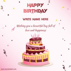 Wishing You Beautiful Day Happy Birthday Quote Greeting Card Advance Happy Birthday Wishes, Happy Birthday Writing, Birthday Cake Write Name, Birthday Wishes Greeting Cards, Birthday Wishes With Name, Happy Birthday Cake Images, Happy Birthday Wishes Images, Happy Birthday Love, Cake Name