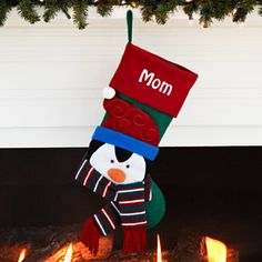 Personalized Happy Holiday Character Christmas Stocking, Penguin