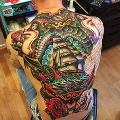 ~ New Traditional tattoo ~ ship and mermaid by Samuele Briganti