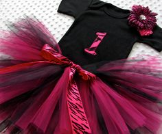 Hot Pink Zebra tutu outfit. Hand-embroidered, and personalized with any monogram. $34.00 So perfect for 1st birthday parties!