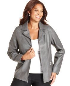 Alfani 5147 Plus Size Faux-Leather Quilted Jacket. Taille XXL.