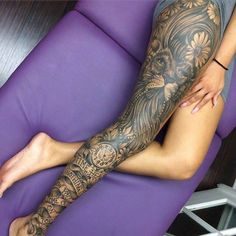 Stunting full leg tattoo