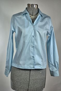 Sky Blue Old Stock Vintage 1960 Miss Preston Long Sleeve Blouse Measurement: Label: Miss Preston Co, Inc NEW YORK Made in the USA Condition: Excellent, Old Stock: Measurements: Bust: 32 to 34 inches (