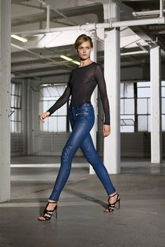 Fashion leather jeans