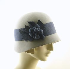Light Gray Cloche Hat for Women Downton Abbey by TheMillineryShop