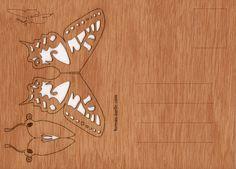 postcard wood 3 butterfly cards by formesberlin on Etsy