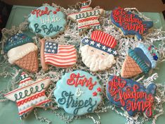 Taking orders now for of July cookies! Patriotic Sugar Cookies, No Bake Sugar Cookies, Iced Cookies, Cut Out Cookies, Cute Cookies, Royal Icing Cookies, 4th Of July Cake, 4th Of July Desserts, 4th Of July Celebration