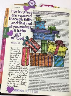 Ephesians 2:8  http://melissagross.blogspot.com/2016/10/bible-journaling-inspiration-drawing-vs.html