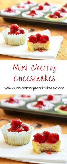 These Mini Cherry Cheesecakes with vanilla wafer crust, creamy cheesecake and cherry topping are so easy to make, they come together in minutes