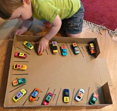 Numbers Learning with a Car Parking Numbers Game. Could expand this to also practice colors. Certain colors need a car wash, fill up at gas station, etc.