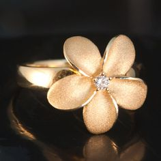 Gold Plumeria Ring With Diamond