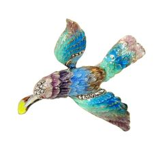 Deco Enamel Sterling Silver Sparrow Brooch with Marcasite