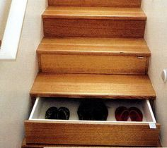 Probably not do-able for our house, but neat idea.  We always take our shoes off at the foot of the stairs.