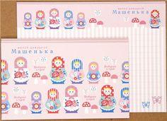 pink matryoshka Letter Paper set flower mushroom Japan 3