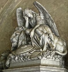 Angel and Lion Statue from Santa Croce in Florence Italy