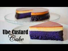 Ube Custard Cake is a perfect combination of soft chiffon ube cake and creamy leche flan. Leche Flan Cake Recipe, Ube Dessert Recipe, Ube Cheesecake Recipe, Ube Cupcake Recipe, Cupcake Recipes, Cupcake Cakes, Dessert Recipes, Cheesecake Tarts, Crack Crackers