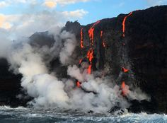 Lava flowing into the Pacific Ocean from Kilauea Volcano. Photo Credit: Shane Turpin