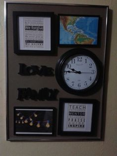 Reusando marco, montaje de reloj, marcos, palabras y frases inspiradoras Repurposing frame: clock, frames, inspirational words and phrases.