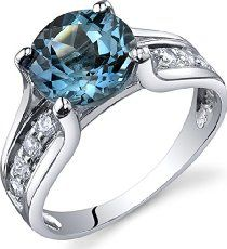 London Blue Topaz Solitaire Style Ring Sterling Silver 2._.25 Carats Sizes 5 to 9