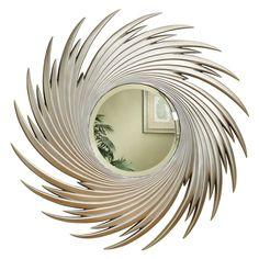 Coaster Company Round Mirror w/Spiral Design, Antique Silver Finish Large Round Wall Mirror, Round Mirrors, Modern Mirrors, Moon Mirror, Broken Mirror, Mirror Set, Gold Coasters, Cool Stuff, Frames