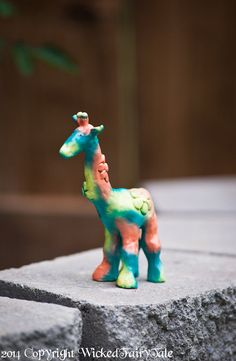 Caribbean Giraffe Clay Sculpture  Painted by WickedFairyTaleArt, $55.00 #etsy