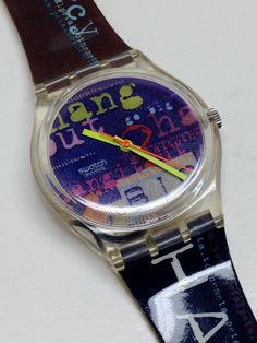"""Swatch Watch Swatch Watch from Fantastic near mint condition. Watch is running and keeping perfect time with an included battery. Bands say """"show no mercy"""" and """"hang it out"""". Great gift for extreme sport enthusiast. Vintage Swatch Watch, Beautiful Watches, Cool Watches, Omega Watch, Bracelet Watch, Great Gifts, My Etsy Shop, Trending Outfits, Unique Jewelry"""