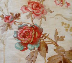 Antique French Pink Aqua Roses Floral Cotton fabric ~  Red Pink Aqua Brown Taupe