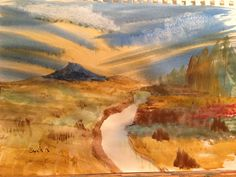 Lonely mountain in watercolors.