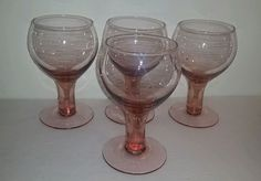 """SET OF (4) PINK DEPRESSION GLASS GOBLETS 6 1/4"""" TALL in Pottery & Glass, Glass, Glassware 