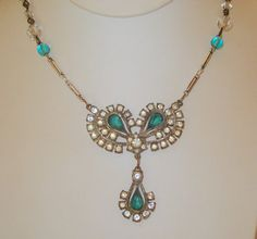 Vintage Turquoise and Clear Paste Rhinestone by joyceshafer