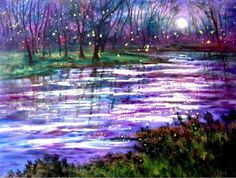 oil painting: fireflies and moonlight