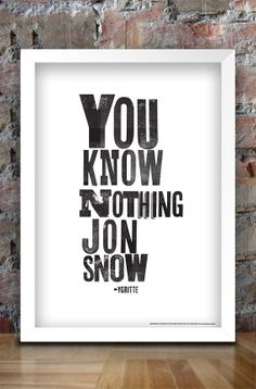 Game of Thrones Typographic Print A3 by thedesignersnursery, $25.00 Jon Snow A Song of Ice and Fire