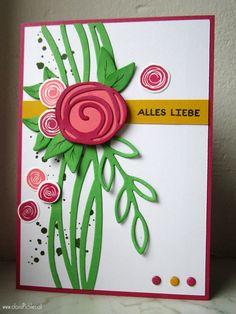 Swirly Bird & Rose Wonder Card