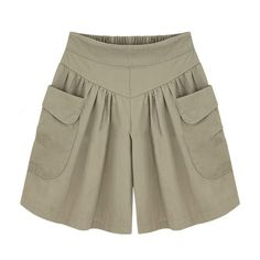 2018 Summer Plus size Short women XL- Wide Leg Female Shorts Casual Loose Ladies Khaki High waist thin pantalones cortos Loose Shorts, High Waisted Shorts, Casual Shorts, Comfy Shorts, Khaki Shorts, Women's Casual, Plus Size Shorts, Plus Size Outfits, Culotte Shorts