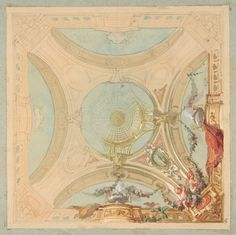 Jules-Edmond-Charles Lachaise | Design for a ceiling with garland bearing putti | The Metropolitan Museum of Art