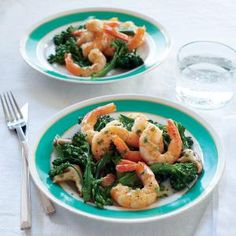 Roasted Shrimp with Mushrooms, Broccolini, and Foaming Chive Butter Sauce | CookingLight.com #myplate  #protein #veggies