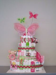 Diaper Cake - Loved the butterflies! Made this for my super sweet cousin. :)