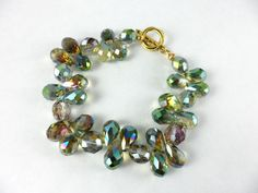 Gold Green Crystal Bracelet by drygulch on Etsy, $25.00