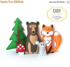 SALE Woodland Stuffed Animal Patterns Felt by LittleSoftieShoppe
