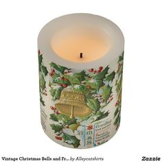 Vintage Christmas Bells and Frozen Holly Flameless Candle