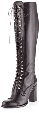 Charles David Regiment Lace-Up  Knee Boots
