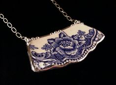 Blue Transferware Floral Toile Broken China Jewelry Necklace made from an antique broken plate. $60.00, via Etsy.