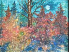 Seyran Khachaturyan Nocturnal Moonlit Wooded Landscape Impressionism Painting | eBay