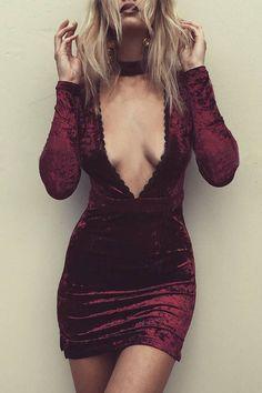 Burgundy Sexy Deep V-neck Long Sleeves Velvet Dress