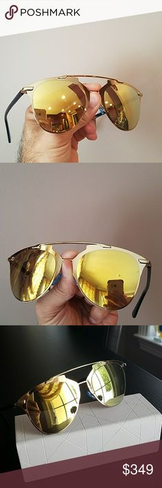 Christian Dior Reflected MIRROR Aviator sunglasses Unisex Dior Reflected MIRROR Aviator sunglasses PILOT shape  Made in Italy  Size 52 21 140 Dior Accessories Sunglasses