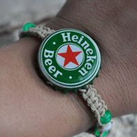 Green and Red Heineken Recycled Beer Cap Hemp Fully Adjustable Size Bracelet - Beach, surfer, christmas stocking stuffer