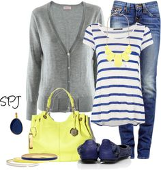 """Blue & Yellow"" by s-p-j on Polyvore"