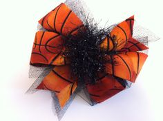 Basketball Inspired Fabric Bow by chattybe on Etsy, $10.00