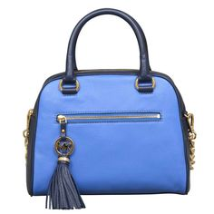 Shop for Michael Kors Knox Tassel Heritage Blue Satchel Handbag. Get free delivery On EVERYTHING* Overstock - Your Online Handbags Shop! Handbags On Sale, Luxury Handbags, Satchel Handbags, Handbags Michael Kors, Leather Tassel, Pebbled Leather, Mk Logo, Purses, Best Deals
