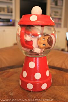 Funny Elf on the Shelf Ideas –  Elf is Stuck in a Jar. This cute idea and more on Frugal Coupon Living. FREE Printable Christmas Notes for your Elf.